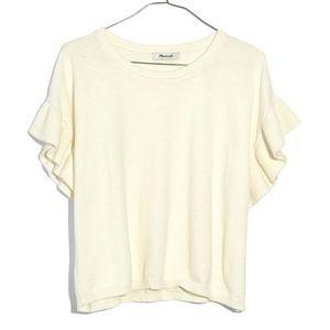 Madewell Cream Ruffle Short Sleeve Sweater